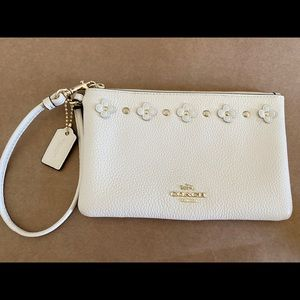 White Leather Coach Wristlet with Flower Details